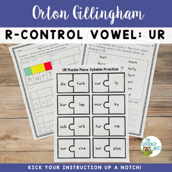 R Controlled Vowels UR Orton-Gillingham Level 2 Multisensory Phonics Activities