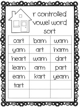 R Controlled Vowels Word Sort