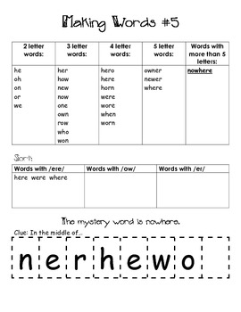 R- Controlled Vowels Word Work Center