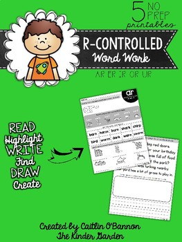 R-Controlled Vowels Word Work Printables