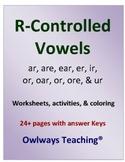 R Controlled Vowels Worksheets & Activites,  ar, er, ir, or, ur, are, ear, ore