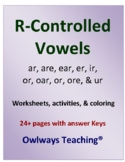 R Controlled Vowels Worksheets & Activites