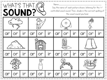 R Controlled Vowels (activities and practice for Bossy R ar,ir,ur,or,er)