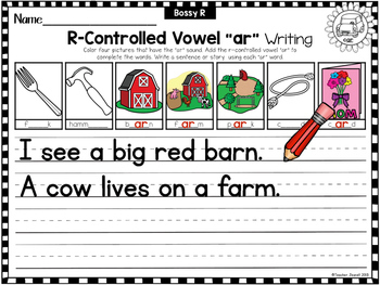 R-Controlled Vowels Writing and Diphthongs Writing Worksheets