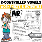 R-Controlled Vowel Worksheets | AR Words | Bossy R