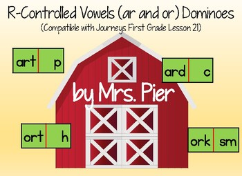 R-Controlled Vowels (ar, or) Dominoes (Compatible Journeys 1st Grade Lesson 21)
