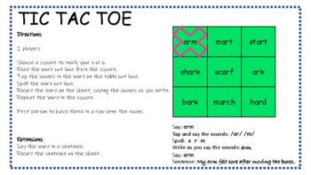 R-Controlled Vowels [ar (two sounds)] Tic Tac Toe