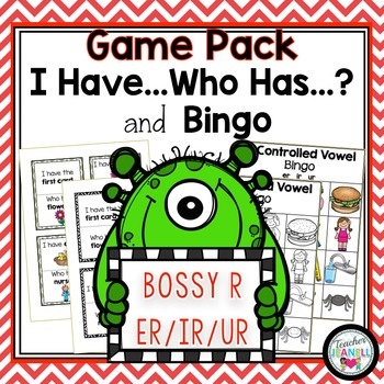R-Controlled Vowels ER, IR, and UR - I Have, Who Has and Bingo Game Pack