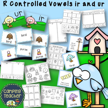 R Controlled Vowels ir and ur with No Prep Printables and Game