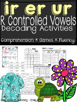R Controlled Vowels: ir, er, ur Activites....Print and Go!