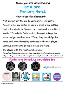 R-Controlled Vowels 'or and ore' Memory Match Game