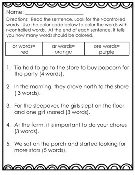 R-Controlled Vowel Activity pack (or, ore, ar)