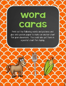 R Controlled Vowels or, ore, oar Word Cards