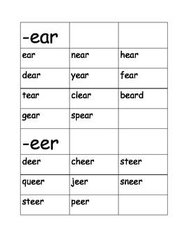 R Controlled Word Sort  /ear/ (ear) and /eer/ (deer)