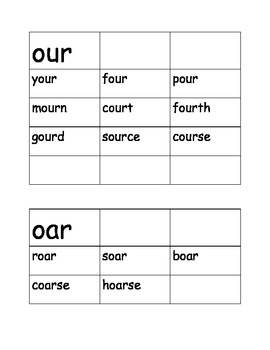 R Controlled Word Sort /our/ (four) and /oar/ (soar)