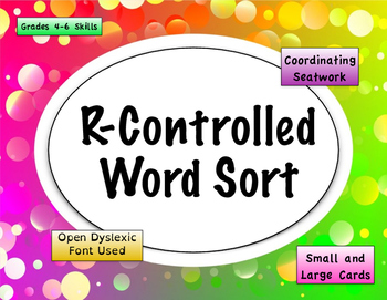 R Controlled Word Sort {Differentiated} + Seat work