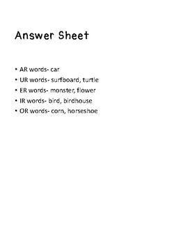 R Controlled Words File Folder Game