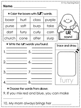R-Controlled Words (Phonics) Printables