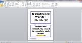 R-Controlled Words Task Cards ER IR UR