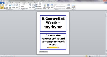 R-Controlled Words Task Cards ER IR UR