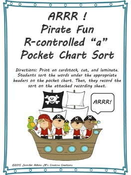 R-Controlled a Pirate Pocket Chart Sort and Recording Sheet