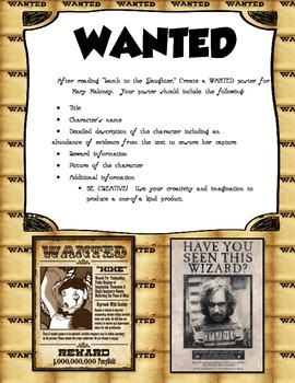 "R. Dahl's ""Lamb to the Slaughter"" Wanted Poster Activity"