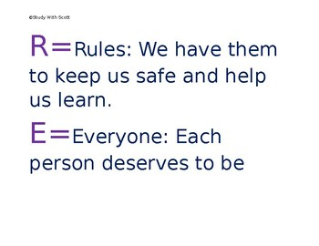 R.E.F.L.E.C.T Acronym behavior poster
