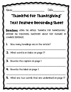 R.I. 2.5 and R.I. 3.5 Text Features Read and Answer Thankful for Thanksgiving