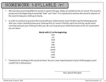 R SOUND Pizza Articulation Cards for Single & Multisyllabic Words & Sentences