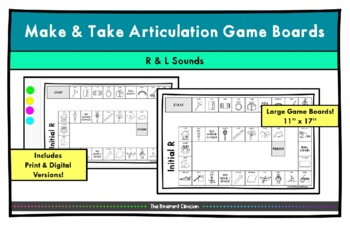 R Sound ARTICULATION GAME BOARD Make & Take, SPEECH THERAPY