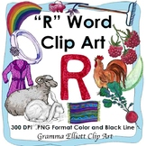 Letter R Clip Art - R Word Initial Sound - Realistic - Color and BW