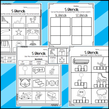 R and L Beginning Blends Worksheets