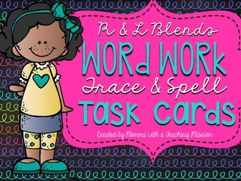 R and L Blends Trace and Spell Task Cards