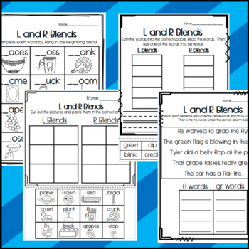 R and L beginning blends: Cut and Paste Sorts, Cloze Worksheets and More!