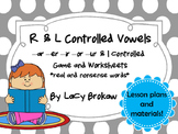 R and L controlled Vowels Game and Worksheets