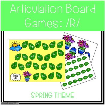 /R/ and /R/-Blends Articulation Board Games - Spring Theme