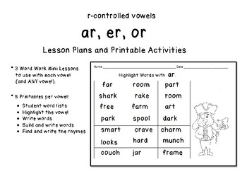 R-controlled Vowels ar, er, or  Lesson Plans Practice Worksheets / Activities