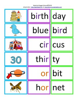 R-controlled vowels syllable card match with worksheet - 2 syllable words
