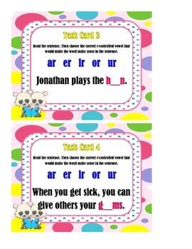 R-controlled vowel Sentences - Task Cards