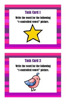 R-controlled vowel pictures Set 1 - Task Cards