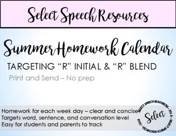 R initial & R blend Summer Homework Calendar
