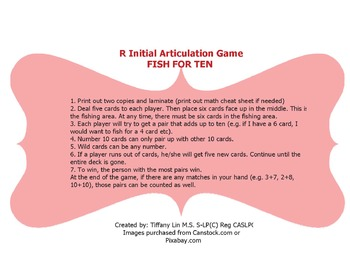 R initial articulation game-Fish for Ten
