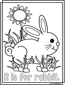 Animal Alphabet Coloring Pages: R is for Rabbit FREEBIE