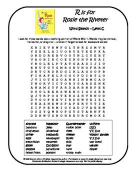R is for Rosie the Riveter Word Search Printables