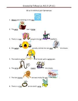 R vs W Minimal Pair Sentences