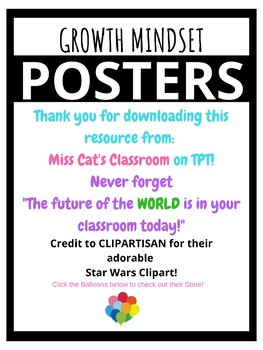 R2D2 Star Wars Growth Mindset Poster Theme Classroom Decor