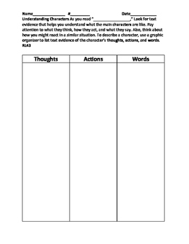 RL43 Characters Thoughts and Actions Organizer