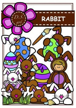 RABBIT  Digital Clipart (color and black&white)