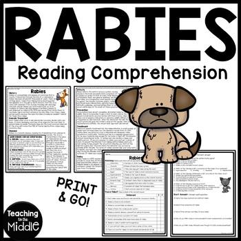 RABIES informational text reading comprehension worksheet,