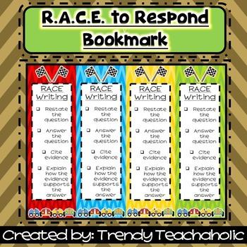 RACE Bookmark (RACE Unit)- CCSS Text Dependent/ Citing Evidence- Open Response